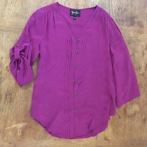 "Yum I Kim silk Lizzie blouse ""wine"" purple."